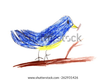 child's drawing titmouse bird on a branch isolated on white background. - stock photo