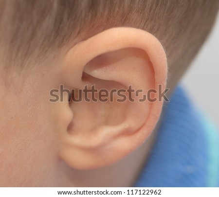 child's ear. macro - stock photo