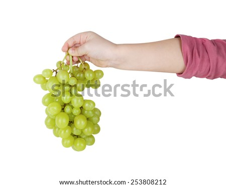 Child's hand holding a bunch of green grapes. Isolated with clipping path. - stock photo