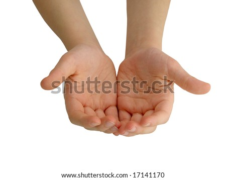 Child's hands holding/offering/giving something or asking/begging for something. - stock photo