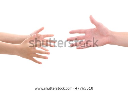 child's hands reaching for help - stock photo