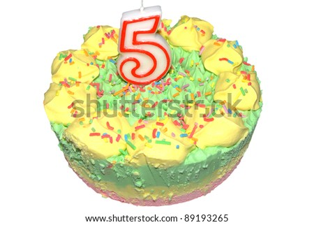 Child's icecream birthday cake with number five candle - stock photo