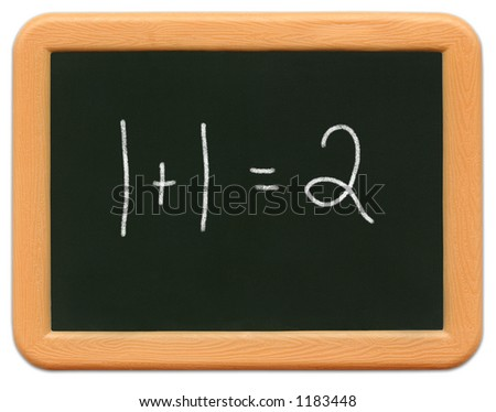Child's mini plastic chalkboard - 1+1=2. - stock photo