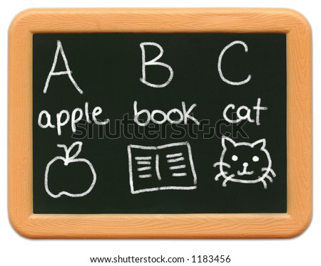 Child's mini plastic chalkboard - A is for apple, B is for book, C is for cat. - stock photo