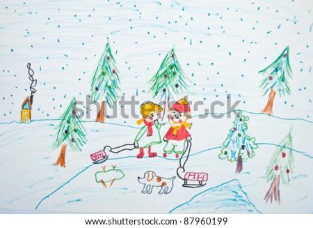 Child's painting of Christmas scene - stock photo