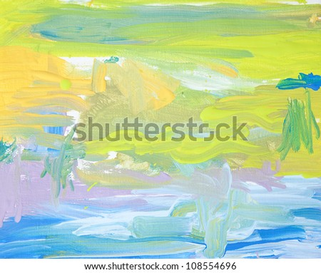 Child's painting with acrylic on canvas - stock photo
