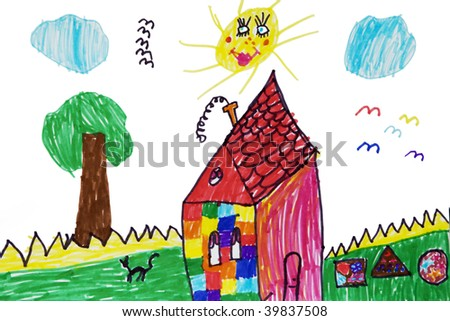 Child`s picture.  House and tree - stock photo