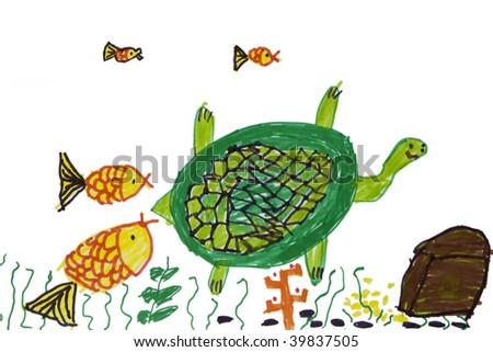 Child`s picture.  Turtle with fish in sea. Fair story - stock photo