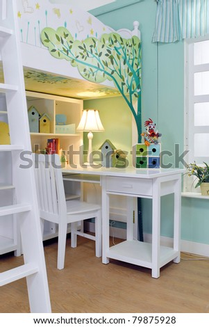 Child's room with white bed and Light color window - stock photo