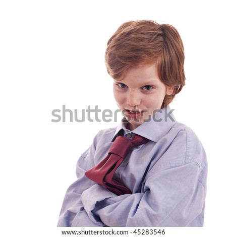 child's shirt and tie, smiling