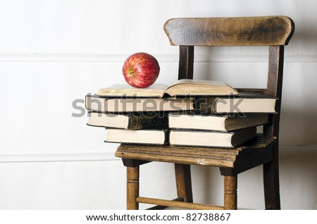 childs vintage school chair supporting old stock photo royalty free