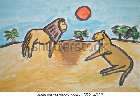Child's watercolor painting of lions in savannah - stock photo