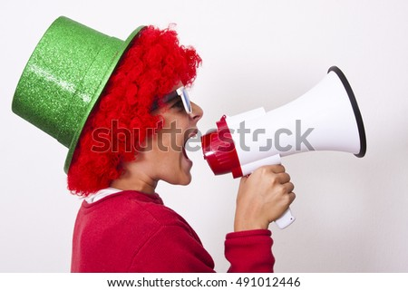 child screaming with megaphone isolated