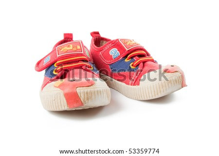 child shoes on white background
