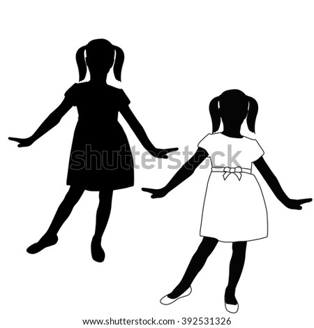 Child Silhouette  in a dress.   illustration isolated on white background. Raster version