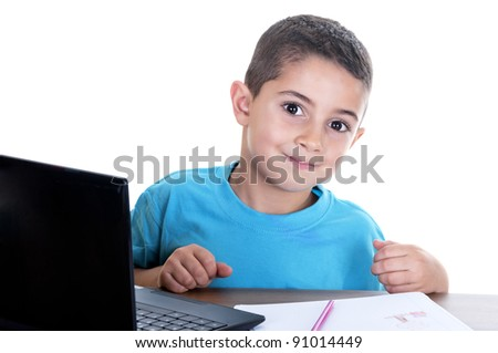 child studying with computer on white background - stock photo