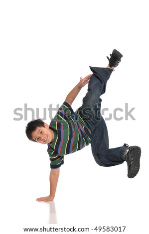 Child tap dancer making a move isolated on white background - stock photo