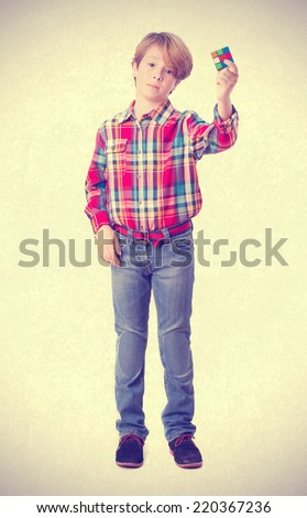 Child who can not solve a problem - stock photo