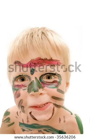 Child who painted his own face - stock photo