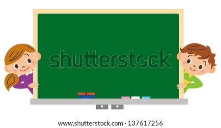 child who watches a blackboard - stock photo