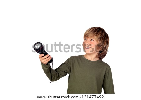 Child with a flashlight looking for something on white background - stock photo