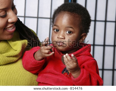Child with a snack - stock photo