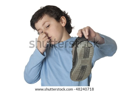Child with a stuffy nose taking a boot isolated on white background - stock photo