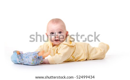 child with a toy isolated on white; - stock photo