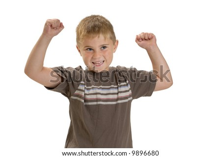 Child with arms in air, cheering or showing off muscles