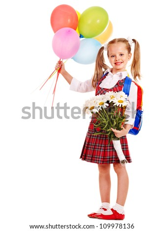 Child with backpack holding balloon and flower. Isolated. - stock photo