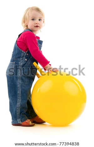 Child with ball, on white background.