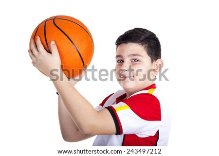 child with basketball, isolated on white background - stock photo