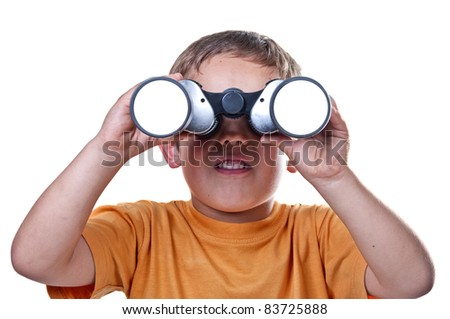 child with binoculars on a white background - stock photo