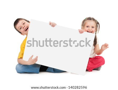 child with blank paper sheet