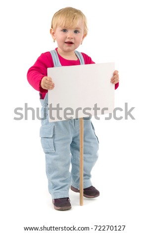 Child with blank table waiting for your sign, on white background. - stock photo