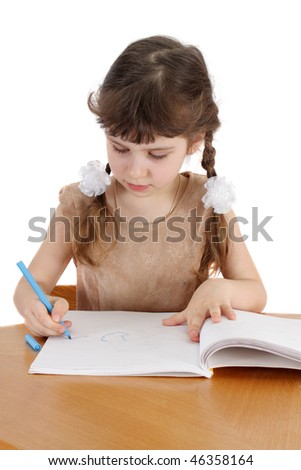 child with book on a white background, is isolated.