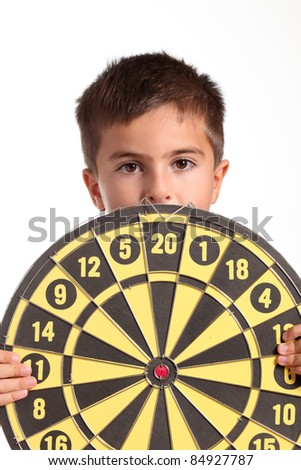 child with darts - stock photo