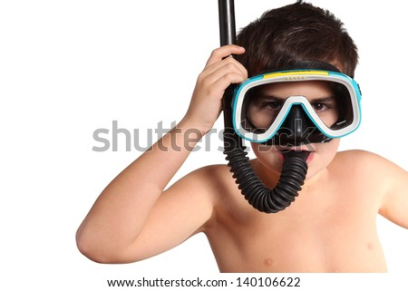 Child with diving mask isolated on white - stock photo