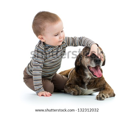 child with dog