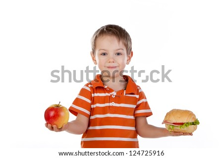 child with food - stock photo