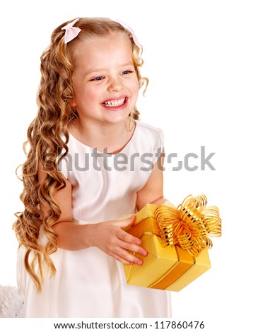 Child with gold gift box on birthday.  Isolated. - stock photo