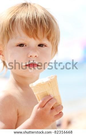 child with ice cream - stock photo