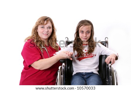Child with illness , sitting in her wheelchair with her nurse beside her.
