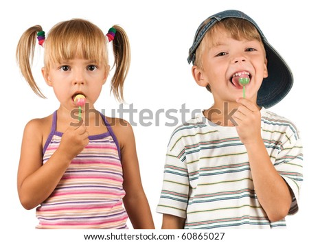 Child with lollipop. Beautiful caucasian model. Isolated on white background. - stock photo