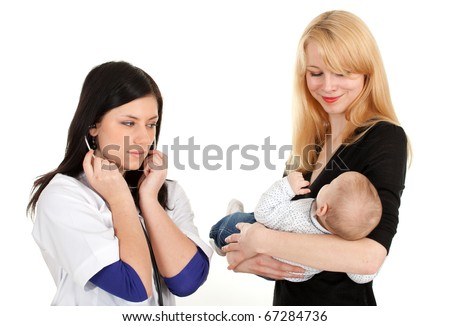 child with mother at doctor - female doctor examining baby - stock photo