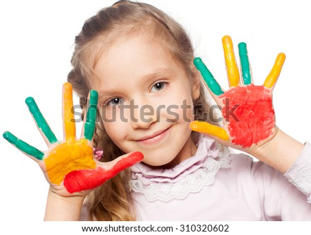 Child with painted palms - stock photo