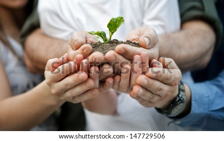 child with parents holding a new plant in hands - stock photo
