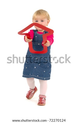 Child with red dart, on white background. - stock photo
