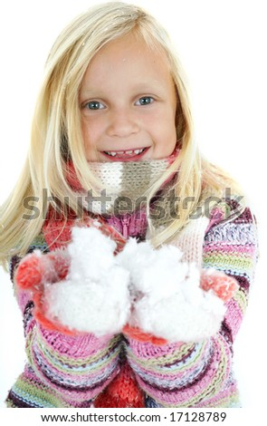 Child with snow - stock photo