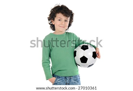 Child with soccer ball on a over white background - stock photo